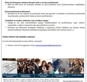 Emprego - Trainee - Consultoria de Negócio. Técnicos - 3